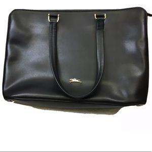 Longchamp black leather tote bag purse